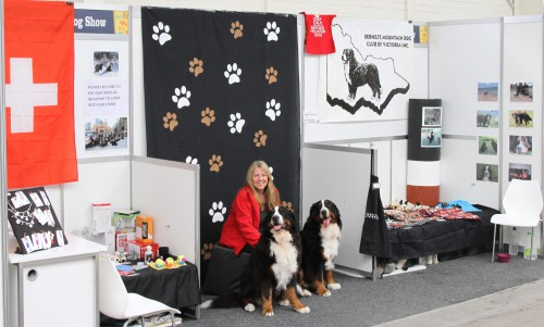 Committee member Tracey, with Kassie and Zuri, before the crowds descended!